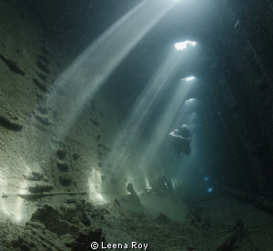 Diver in the wreck of the Umbria by Leena Roy 